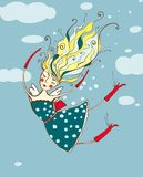 Het romantische Vliegende Mooie Beeldverhaal van het Meisje Stock Afbeeldingen