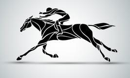 Het rond maken van de Draai Ruiter sport Silhouet van het rennen met jockey Stock Foto