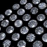 Het ronde briljante perspectief van de besnoeiingsdiamant op zwarte Stock Afbeeldingen