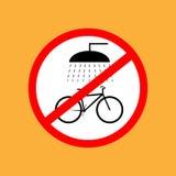 Het ronde fietspictogram wast niet de fiets, rode dunne lijn op witte achtergrond - vectorillustratie stock illustratie