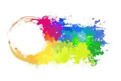 Het ronde kader met grungy schaaft en regenboogwaterverfnevels I stock illustratie