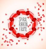 Het ronde kader van het cirkelsymbool van rood spiraalvormig lint met hartenconfettien Royalty-vrije Stock Fotografie