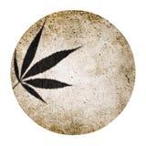 Het ronde silhouet van de marihuanaschaduw en grunge beige ronde cirkelachtergrond Stock Foto's