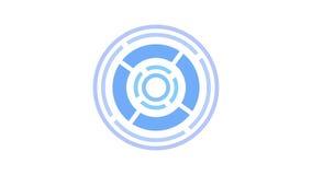 Het rondschrijven van het ladingsscherm, blauw op witte achtergrond - 30fps-lijn - videotextuur, naadloos geanimeerd element stock video