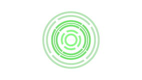 het rondschrijven van het ladingsscherm, groen op witte achtergrond - 30fps-lijn - videotextuur, naadloos geanimeerd element stock videobeelden