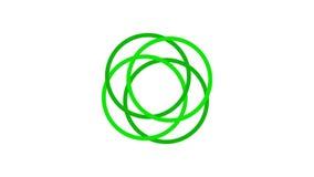 het rondschrijven van het ladingsscherm, groen op witte achtergrond - 30fps-lijn - videotextuur, naadloos geanimeerd element stock video