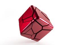 Het rood destructed 3d kubus met gebarsten lijnen Stock Foto