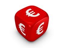 Het rood dobbelt met euro teken Stock Afbeeldingen