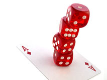 Het rood dobbelt met kaarten Stock Afbeelding