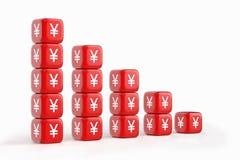 Het rood dobbelt met Yen/Yuan Currency Symbol Stock Foto