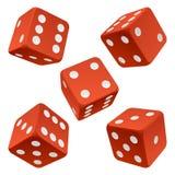 Het rood dobbelt reeks. Vector pictogram Royalty-vrije Stock Afbeeldingen