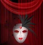 het rood draperen en Carnaval het masker Royalty-vrije Stock Foto