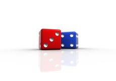 Het rood en het Blauw dobbelen Stock Foto's