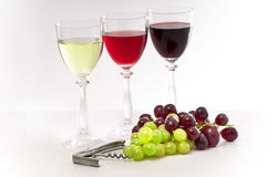 Het rood, nam en witte wijnen met druiven toe. Stock Afbeelding