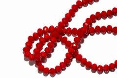Het rood parelt halsband stock foto