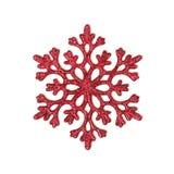Het rood schittert sneeuwvlok Stock Afbeelding