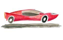Het rood van de beeldverhaalsportwagen Waterverfillustratie van de achtergrond wordt geïsoleerd die royalty-vrije stock afbeeldingen