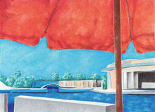het rood van de strandparaplu Stock Foto's