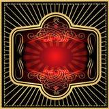 Het rood van het etiket met zwart goud Royalty-vrije Stock Afbeeldingen