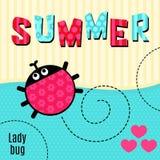 Het rood van het kaartlieveheersbeestje dat de zomer vectorillustratie zegt Stock Afbeelding