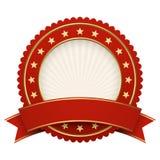 Het rood van het knoopmalplaatje met rode banner Royalty-vrije Stock Fotografie