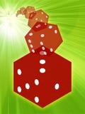 Het rood van Rolling dobbelt illustratie Stock Fotografie