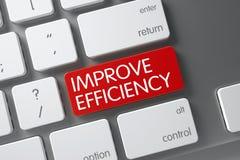 Het rood verbetert Efficiencysleutel op Toetsenbord 3d Stock Foto's
