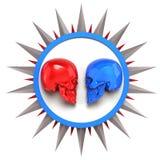 Het rood versus blauwe metaal geschilderde glanzende schedels op witte plaat met glanst rond aarster, teruggeeft geïsoleerde acht Stock Foto's