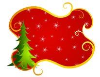 Het rood wervelt de Achtergrond van de Kerstboom Stock Foto