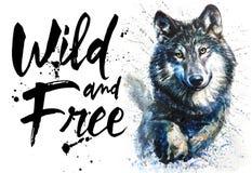 Het roofdier de dierenwild van de wolfswaterverf, wild en vrij, koning van bos, druk voor t-shirt vector illustratie