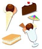 Het roomijs en de cake van de mengeling Stock Afbeeldingen