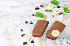 Het roomijs van de chocoladebanaan met banaanplakken, munt en bevriest Stock Afbeeldingen