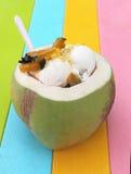 Het roomijs van de kokosnoot met pompoen en graan Stock Foto