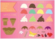 Het roomijskegels van de aardbei, van de chocolade, van de vanille en van de pistache over witte achtergrond Stock Foto's