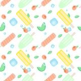 Het roomijspatroon van het de zomerfruit Vector naadloos patroon met verschillende ijslollys, muntbladeren, perziken of abrikozen stock illustratie