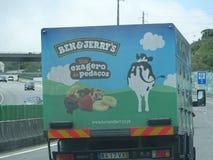 Het Roomijsvrachtwagen van Ben&Jerry in Portugal wordt waargenomen dat royalty-vrije stock afbeeldingen