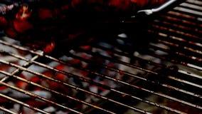 Het roosteren: Ribben op houtskool stock videobeelden