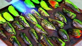 Het roosteren van een peper met brander stock footage