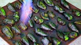 Het roosteren van een peper met brander stock video