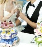 Het roosteren van het paar bij huwelijk stock foto's
