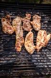 Het roosteren van het vlees van de kippenborst Stock Foto's