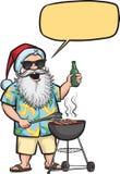 Het roosteren van Kerstman met barbecue en bier Stock Foto's