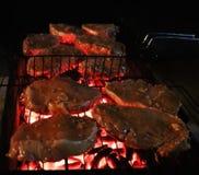 Het roosteren van lapjes vlees bij de vlammende grill stock foto's