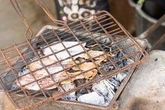 Het roosteren van pijlinktvis Royalty-vrije Stock Foto's