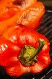 het roosteren van Spaanse pepers Stock Afbeelding