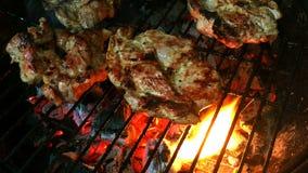 Het roosteren van tijd Rundvlees of varkensvleeslapjes vlees op de grill met vlammen over de steenkolen stock videobeelden