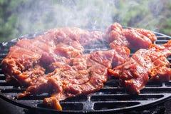 Het roosteren van varkensvleeslapjes vlees bij de barbecuegrill Stock Fotografie