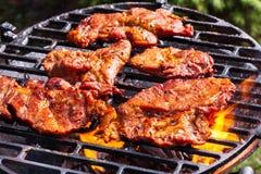 Het roosteren van varkensvleeslapjes vlees bij de barbecuegrill Stock Afbeelding