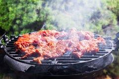 Het roosteren van varkensvleeslapjes vlees bij de barbecuegrill Royalty-vrije Stock Afbeeldingen