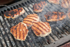 Het roosteren van vlees bij de barbecuegrill Stock Fotografie